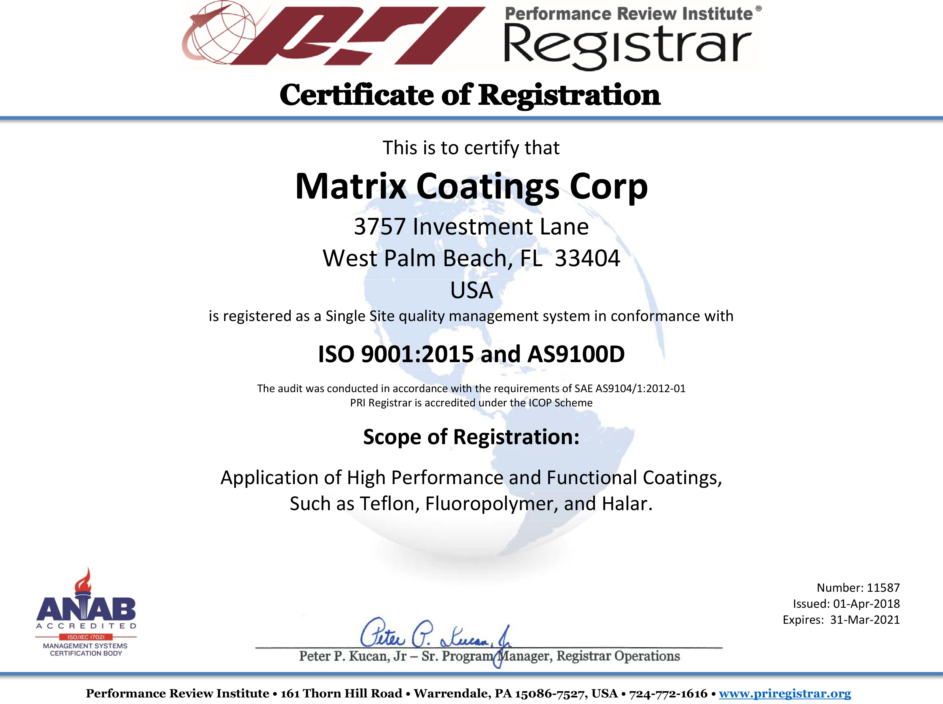 Certifications matrix coatings industrial coating service it is our goal to exceed your quality expectations contact us today to find out how matrix coatings can meet your coating requirements 1betcityfo Image collections